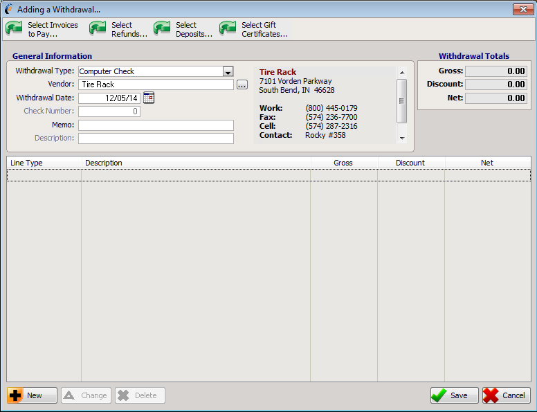 Checkbook Register - TireSoft | Software for the Tire Business